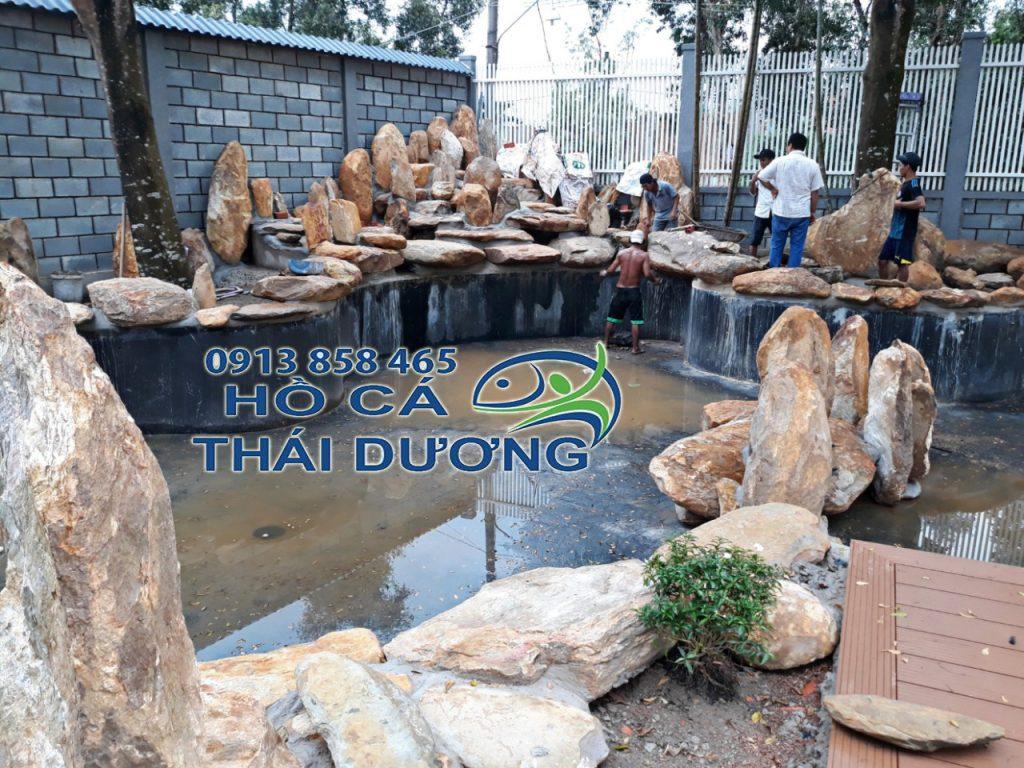 Qúa trình thi công hồ cá koi Thái Dương